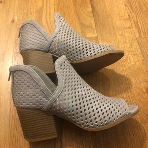 Qupid grey Peep Toe Booties